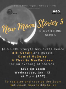 poster for new moon stories online zoom storytelling details below