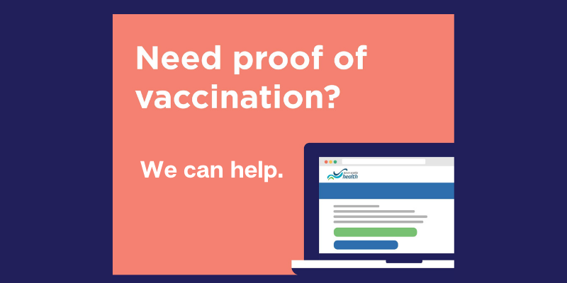Laptop showing Nova Scotia Health website, text reads: need proof of vaccination? We can Help.